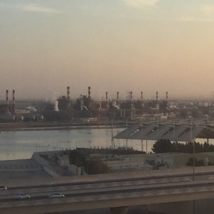 An oil refinery on the edge of the Persian Gulf