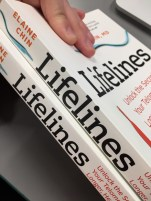 This book had to go through a recall because the i, f, and l of Lifelines curved over the fold. A very costly fix!