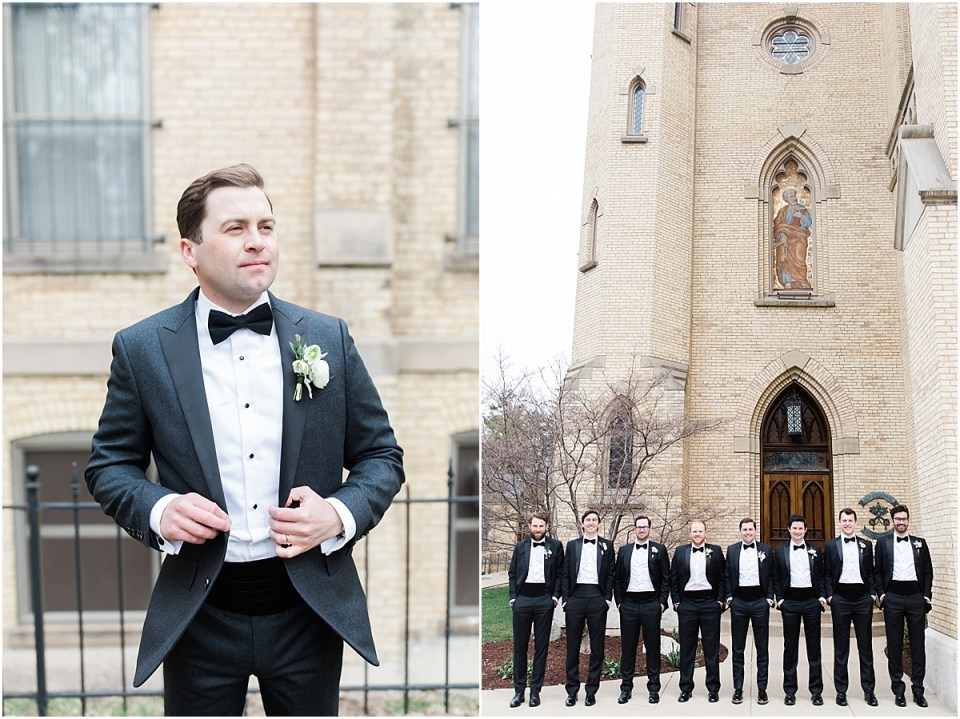 Arielle Peters Photography | Groom and groomsmen outside cathedral on wedding day at the Basilica of the Sacred Heart in Notre Dame, Indiana.