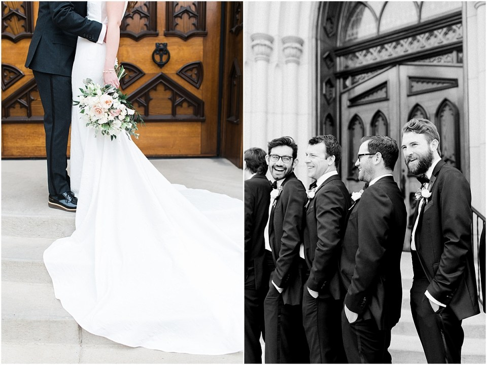 Arielle Peters Photography | Bride and groom in front of cathedral doors on wedding day at the Basilica of the Sacred Heart in Notre Dame, Indiana.
