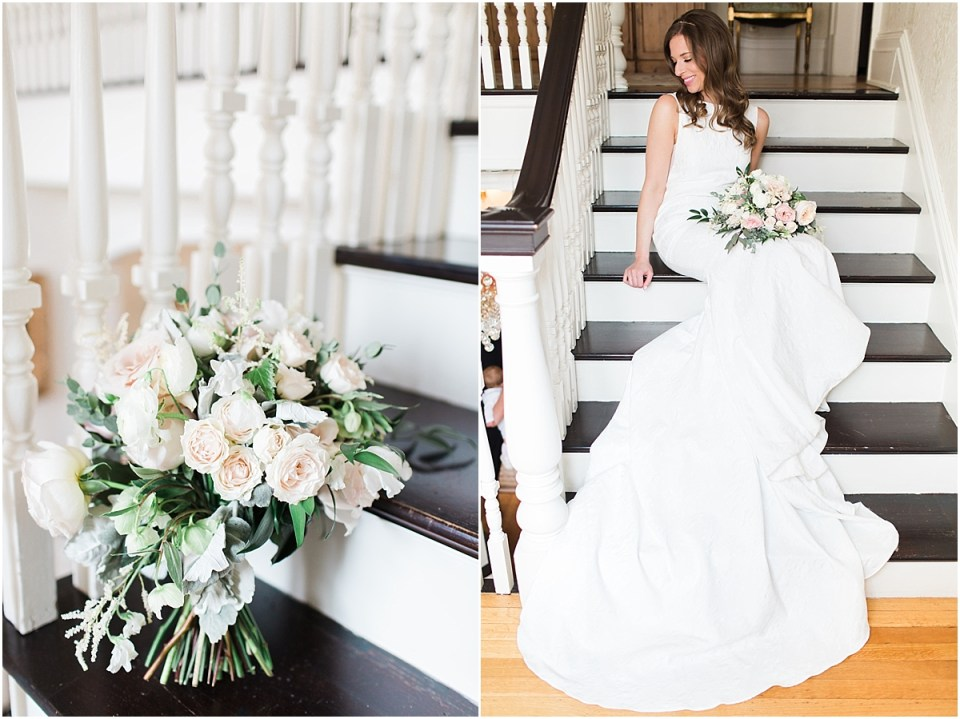 Arielle Peters Photography | Bride sitting on stairwell inside cathedral on wedding day at the Basilica of the Sacred Heart in Notre Dame, Indiana.