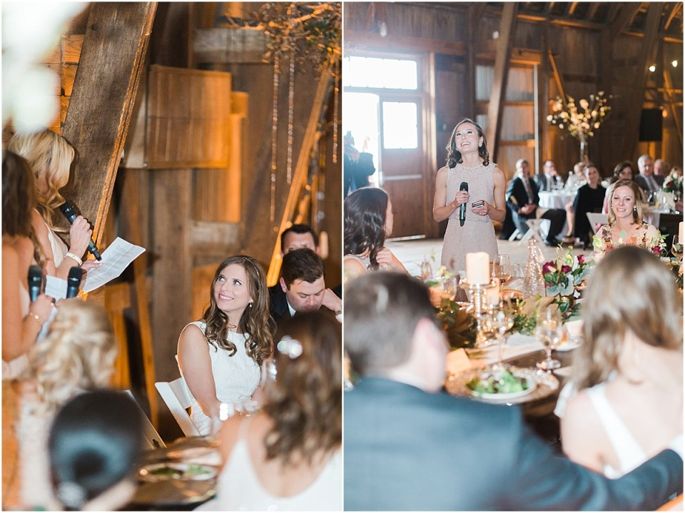Arielle Peters Photography | Maid of honor giving speech at wedding reception on wedding day at St. Joseph's Farm in Granger, Indiana.
