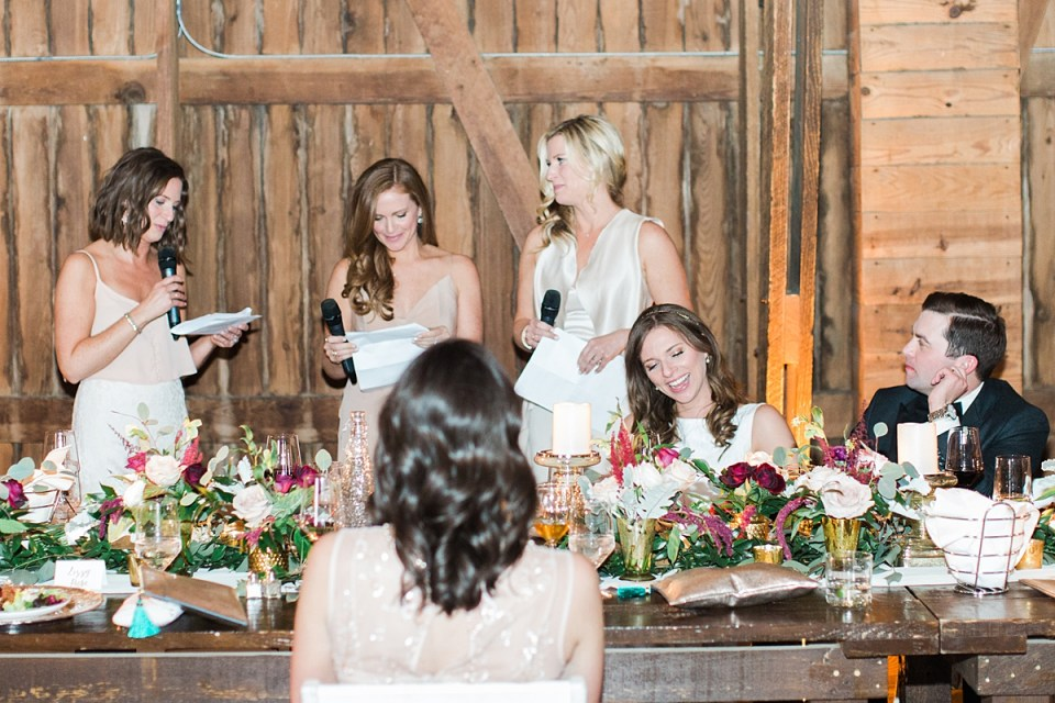 Arielle Peters Photography | Matrons of honor giving speech at wedding reception on wedding day at St. Joseph's Farm in Granger, Indiana.