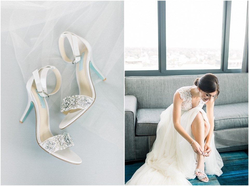 Arielle Peters Photography | Bride putting on her wedding shoes and gown at The Blue Heron at Blackthorn in South Bend, Indiana on wedding day.