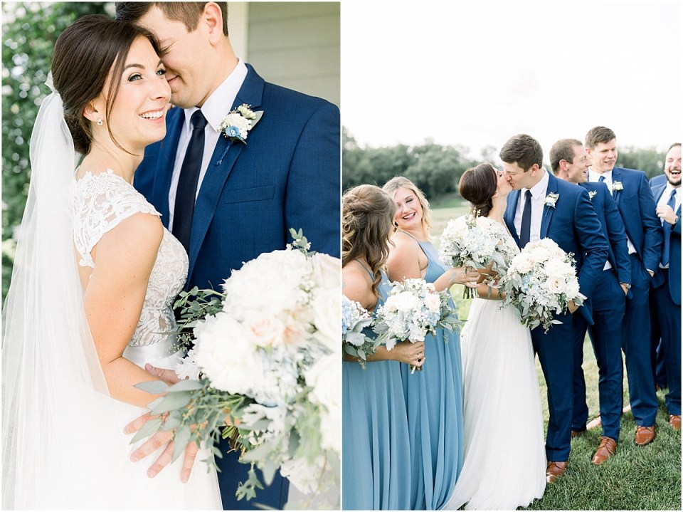 Arielle Peters Photography | Bride and groom kissing outside on wedding day at The Blue Heron at Blackthorn in South Bend, Indiana on wedding day.