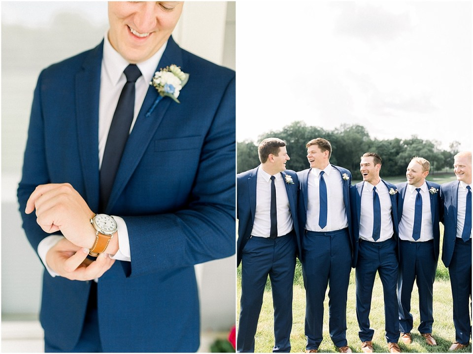 Arielle Peters Photography | Groom and groomsmen laughing outside at The Blue Heron at Blackthorn in South Bend, Indiana on wedding day.