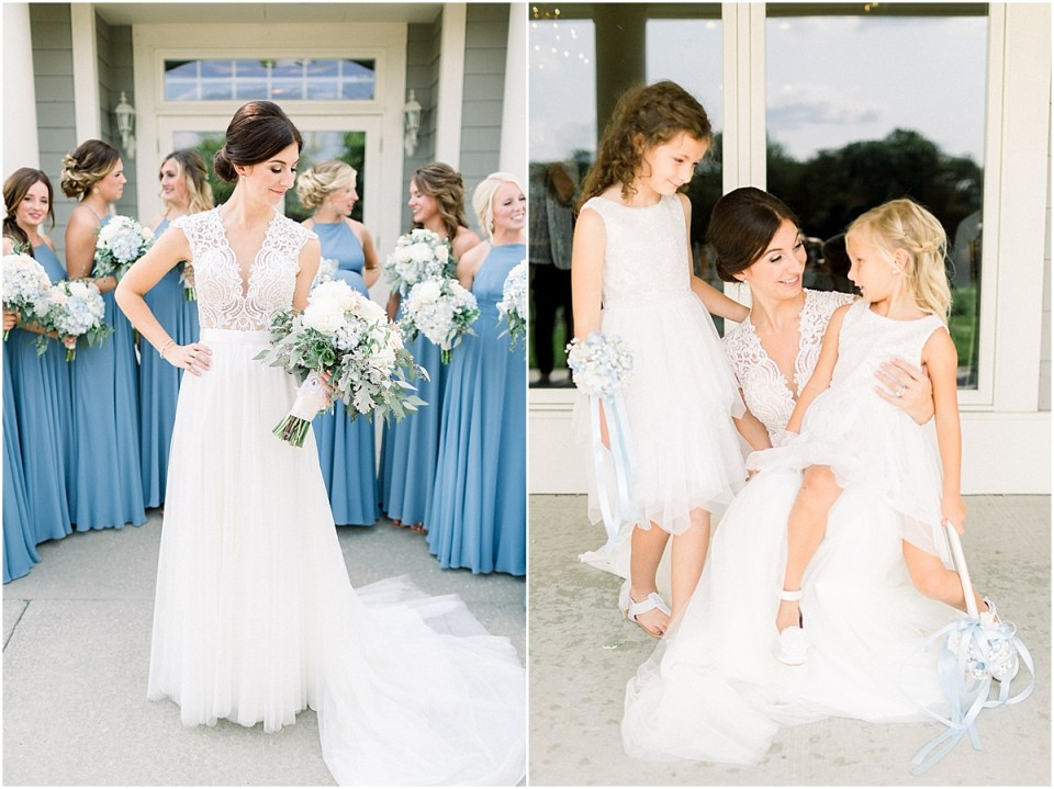 Arielle Peters Photography | Bride smiling with the flower girls at The Blue Heron at Blackthorn in South Bend, Indiana on wedding day.