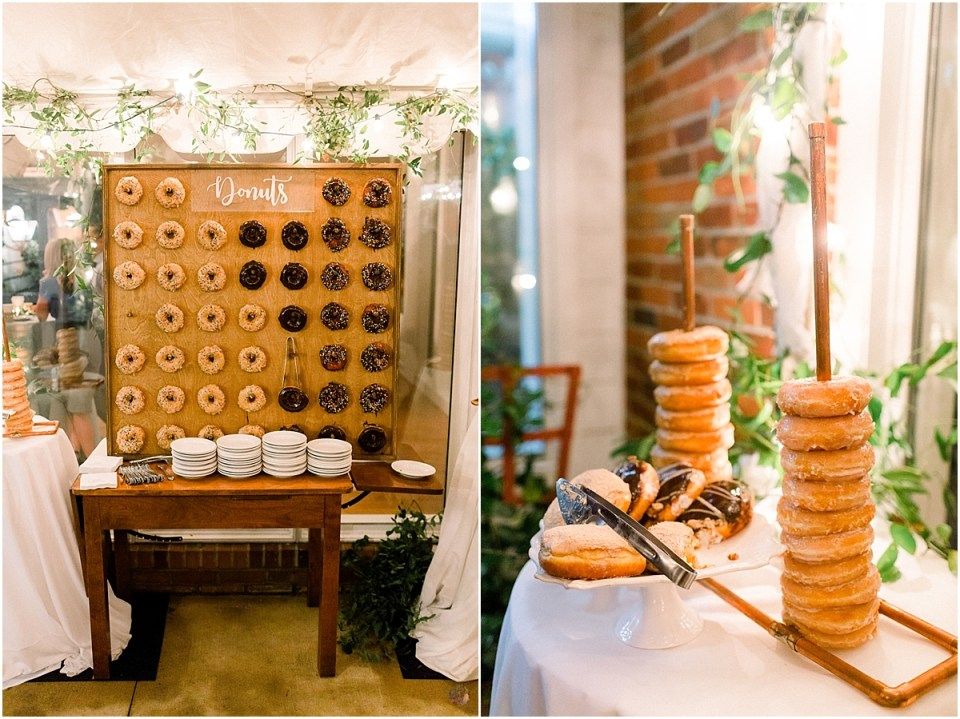 Arielle Peters Photography | Dessert table and donut station at wedding reception at Sycamore Hills Golf Club in Fort Wayne, Indiana on wedding day.