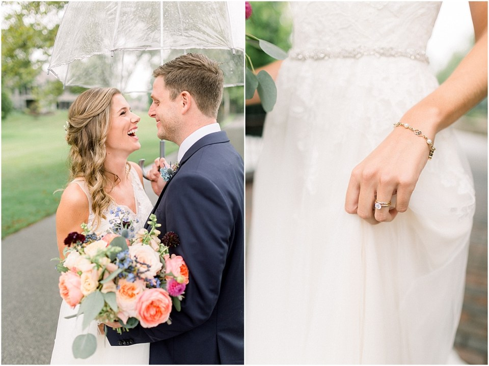 Arielle Peters Photography | Bride and groom laughing in the rain outside on wedding day at Sycamore Hills Golf Club in Fort Wayne, Indiana.