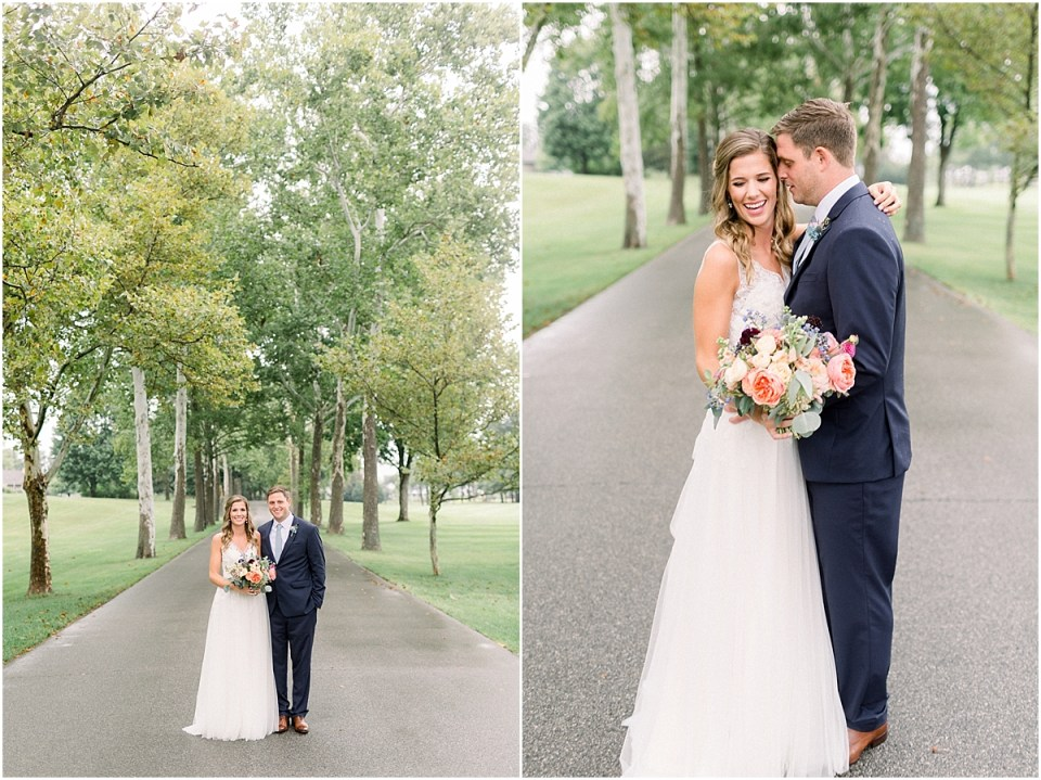 Arielle Peters Photography | Bride and groom kissing outside under trees on wedding day at Sycamore Hills Golf Club in Fort Wayne, Indiana.