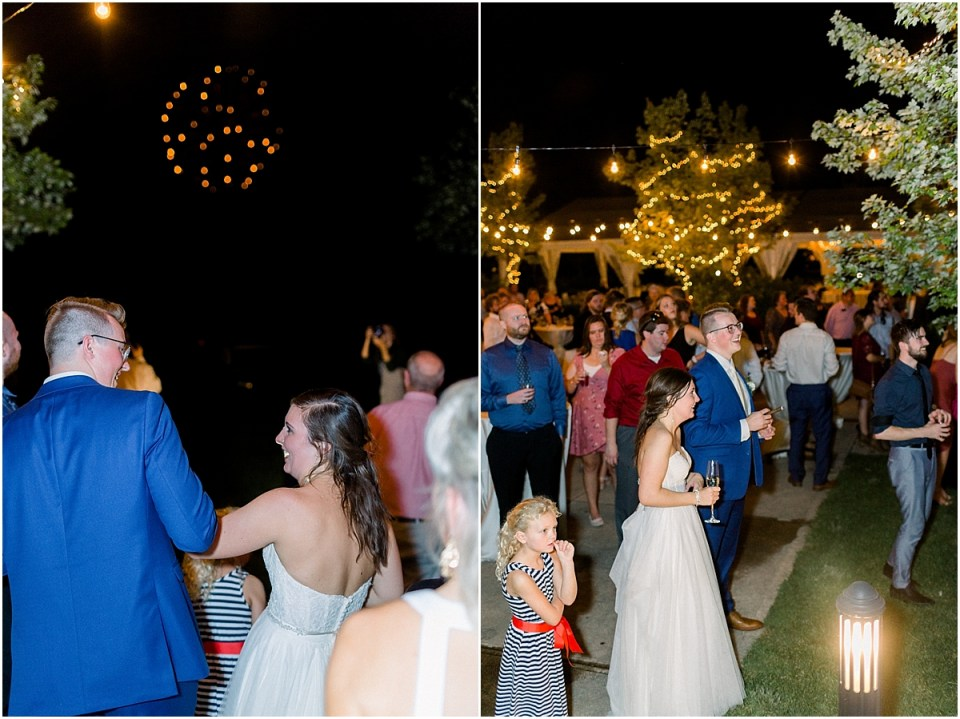 Arielle Peters Photography | Bride and groom watching fireworks at wedding reception at The Bridgewater Club in Carmel, Indiana on wedding day.