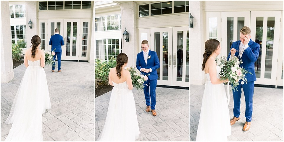 Arielle Peters Photography | Bride and groom having first reveal at The Bridgewater Club in Carmel, Indiana on wedding day.