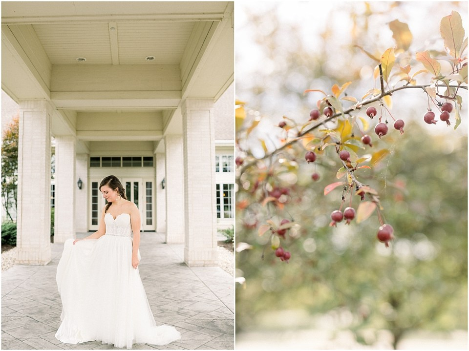 Arielle Peters Photography | Bride outside in her wedding gown at The Bridgewater Club in Carmel, Indiana on wedding day.