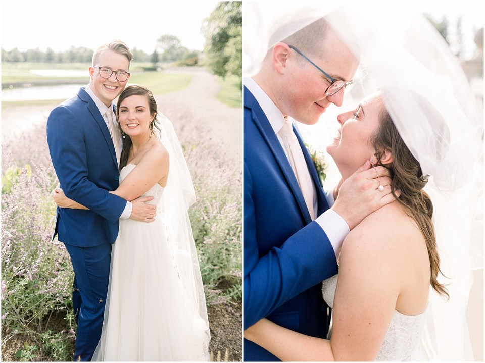 Arielle Peters Photography | Bride and groom smiling in a field at The Bridgewater Club in Carmel, Indiana on wedding day.