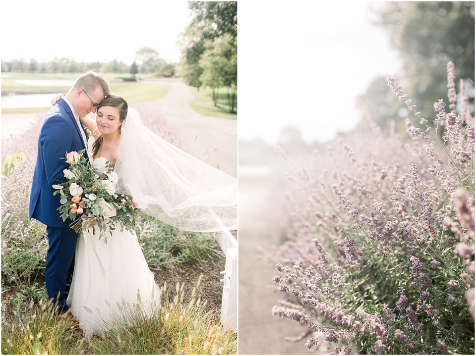 Arielle Peters Photography | Bride and groom smiling in a lavender field at The Bridgewater Club in Carmel, Indiana on wedding day.