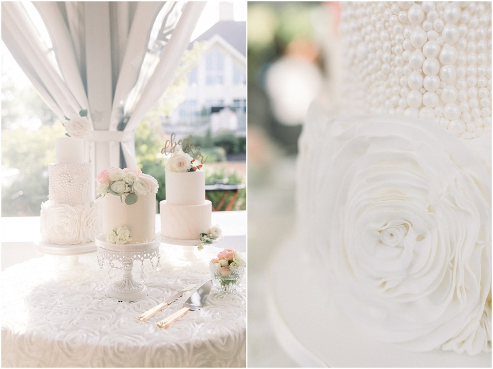 Arielle Peters Photography | Wedding reception table settings and cakes at The Bridgewater Club in Carmel, Indiana on wedding day.