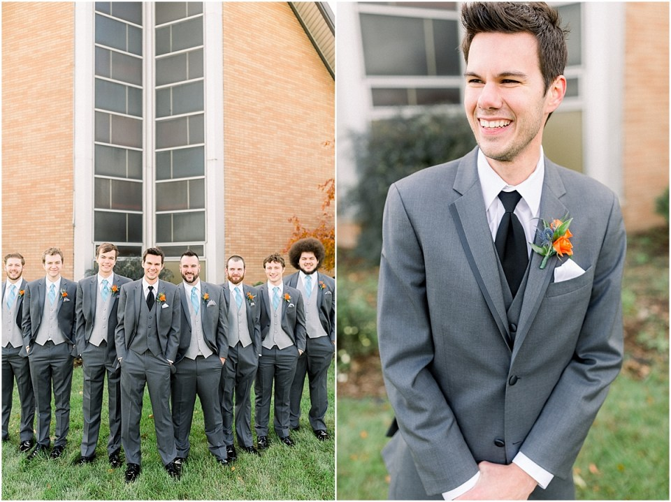 Arielle Peters Photography | Groom and groomsmen lined up smiling outside on fall wedding day.