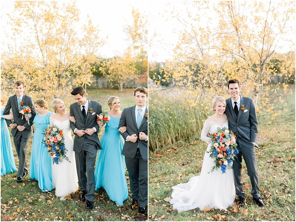 Arielle Peters Photography | Bride and groom walking with wedding party outside on fall wedding day.