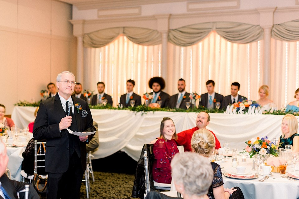 Arielle Peters Photography | Father of the bride giving speech at fall wedding reception.