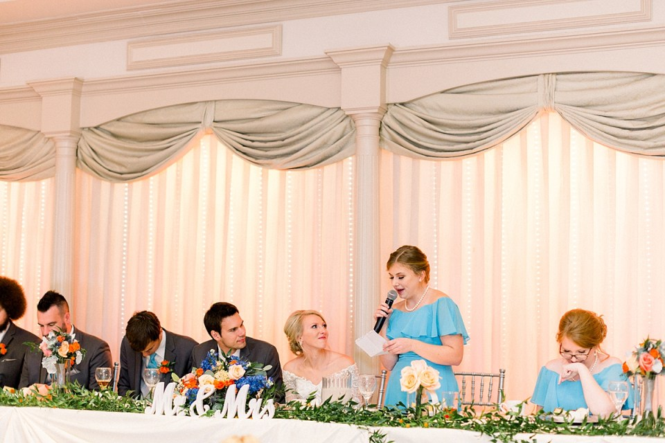 Arielle Peters Photography | Maid of honor giving speech at fall wedding reception.