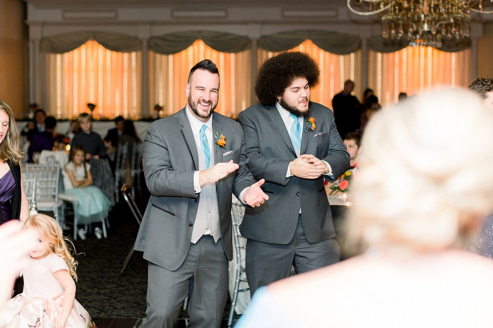 Arielle Peters Photography | Groomsmen dancing and having fun at fall wedding reception.