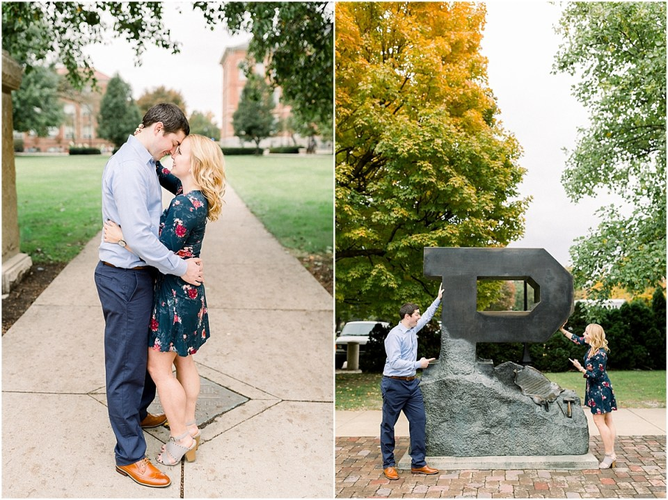 Arielle Peters Photography | Couple taking fall engagement photos at Purdue University.