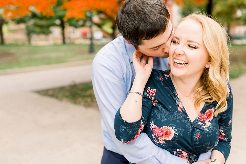 Arielle Peters Photography | Couple laughing and taking fall engagement photos at Purdue University.