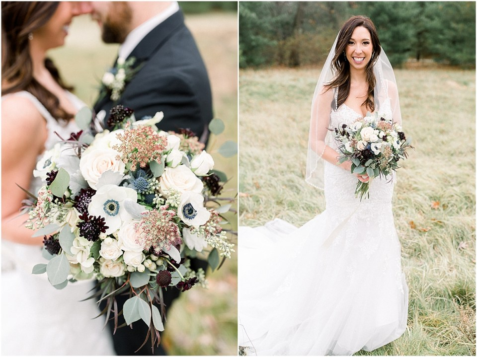 Arielle Peters Photography | Bride and Groom with flowers in a field on wedding day.