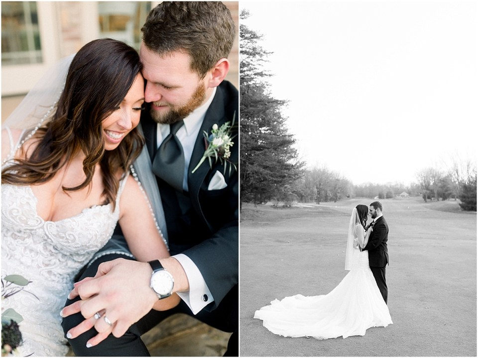 Arielle Peters Photography | Bride and Groom together on golf course on wedding day.