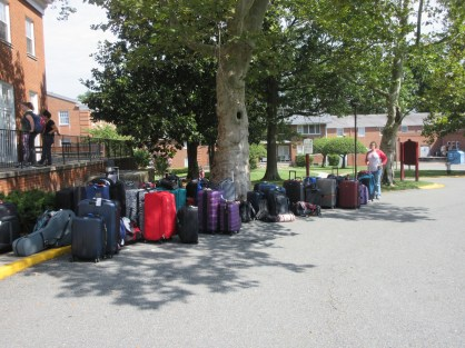 Our luggage outside the 4H Center