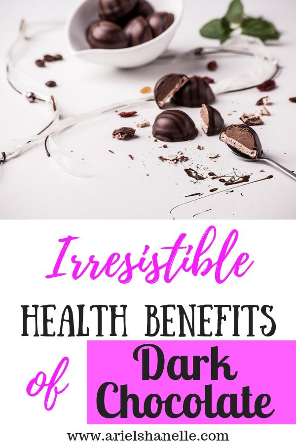 Health benefits od dark chocolate pinterest pin