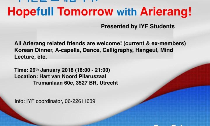 Laatste kans! Inschrijving sluit voor speciale Arierang avond 29 januari 2018