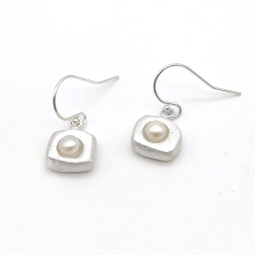 Silver Pearl Earrings in White Square