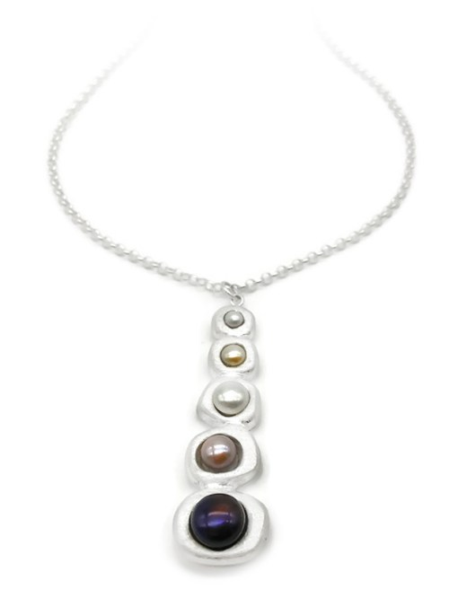 Waterfall Drop Silver Pearl Necklace