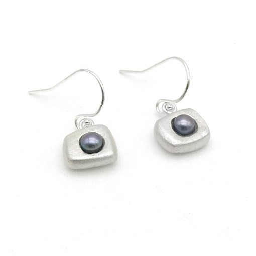 Silver Pearl Earrings Peacock