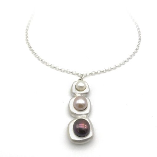 Tri Stepping Stone Silver Pearl Necklace