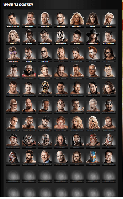 Roster Con Imagen WWE 12