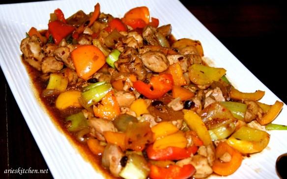 Chicken Capsicum With Black Bean Garlic Sauce Recipe Arie S Kitchen