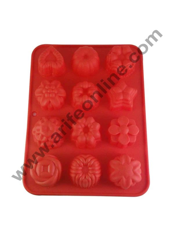 Cake Decor Silicon 12 in 1 Mix Flowers Shape Muffin Cupcake Mould 1