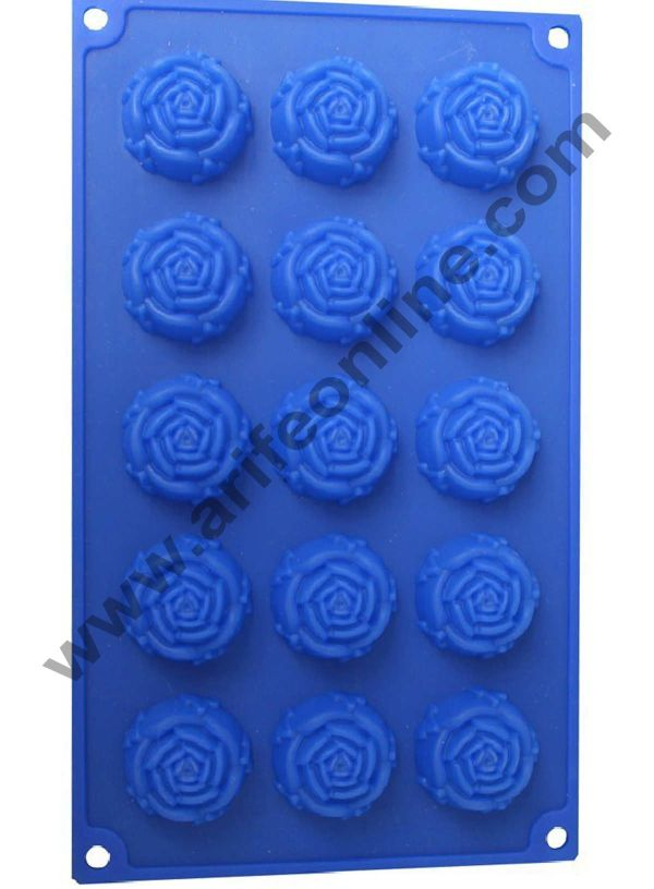 Cake Decor Silicon 15 in 1 Rose Shape Muffin Cupcake Mould 1