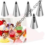 Cake Decor 5 Piece Cake Decorating Set Frosting Icing Piping Bag Tips With Steel Nozzles. Reusable & Washable.