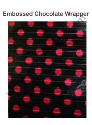 Cake Decor Chocolate Wrappering Foil, Embossed Chocolate Wrapper, 200 Sheets - 10in x 7in - Black with Red Dots