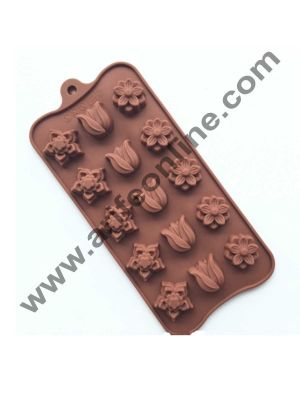 Cake Decor 15-Cavity Mix Flowers Liliy Shape Silicone Brown Chocolate Moulds