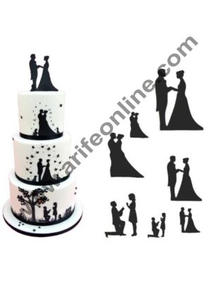 Cake Decor 7 Piece/Set Wedding Couple For Valentine's Silhouette Stencil Cake Decorating Cutting Tool