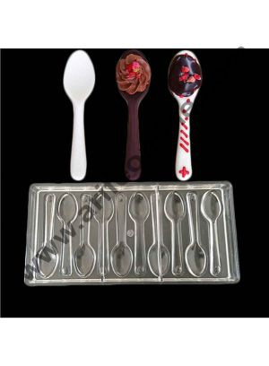 Cake Decor 10 Cavity New Design Spoon Shaped Hard Candy Molds Jelly Mould Plastic Baking Tray Polycarbonate Chocolate Mold
