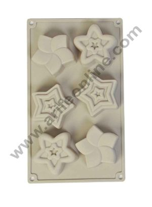 Cake Decor Silicon 6 Cavity, Star Shape, Non Sticky Mold for soap,Chocolate, Fondant Sugar bakeware Mold