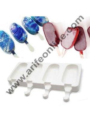 Cake Decor 4 Cavity Big White Classic Silicone Cakesicle Mould Popsicle Easy Ice Cream Bar Mould