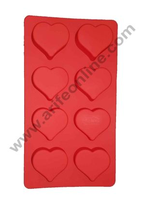Cake Decor 8 in 1 Silicone Heart Shape Soap Mold Non Stick Mold for Soap Making Jelly Desserts and Baking Mould