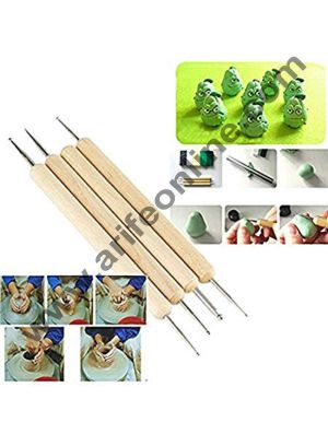 Cake Decor 4pcs Stainless Steel Ball Stylus Polymer Clay Pottery Ceramics Sculpting Handmade Modeling Tools Set with Wooden Handle and Painting Tool