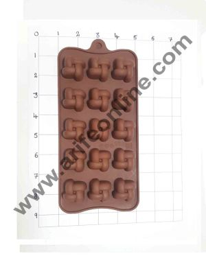 Cake Decor Silicon 15 Cavity Ribbon GiftBox Shape Brown Chocolate Mould, Ice Mould, Chocolate Decorating Mould
